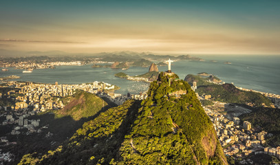 Aerial view of Botafogo Bay from high angle, Rio De Janeiro