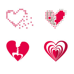 Set hearts. Four flat vector symbol.