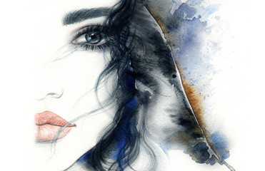 Printed kitchen splashbacks Watercolor Face Abstract woman face. Fashion illustration. Watercolor painting