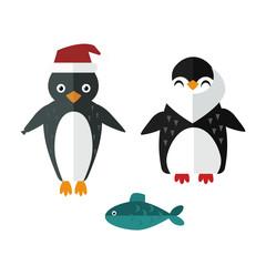 Penguin sailor santa vector animal character illustration.