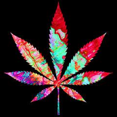 Painted Cannabis Leaf