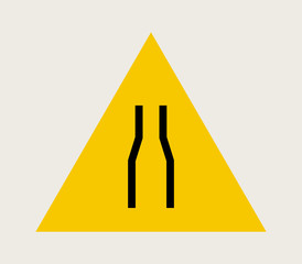 icon narrow road sign