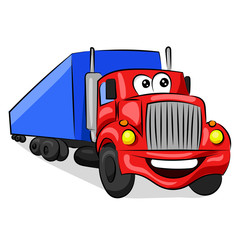 big funny red cabin truck with eyes and mouth