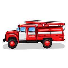 big red fire engine truck isolated at the white background