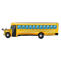 big yellow school bus isolated at the white background
