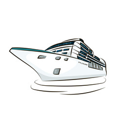 cruise ship isolated at the white background