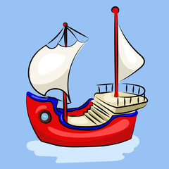 cartoon red sailing ship at the blue background