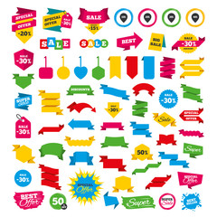Sale pointer tag icons. Discount symbols.