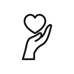 hand and heart icon.