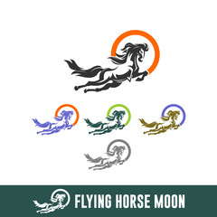 ABSTRACT FLYING HORSE, capital icon isolated
