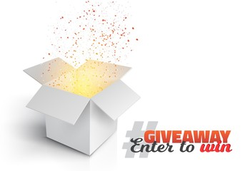 Illustration of Vector Grey Box with Magic Light Coming from Inside. Giveaway Competition Template. Open Box with Confetti Enter to Win Prize Concept