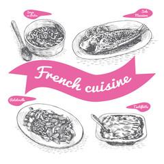 Monochrome vector illustration of French cuisine.