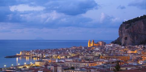 Cefalu in twilight, Sicily