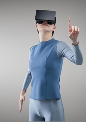 Woman experiencing virtual reality headset