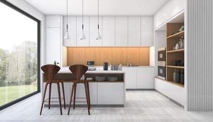 3d rendering white modern kitchen with bar near window
