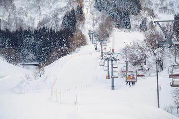 skii lift at snow resort in Yuzawa