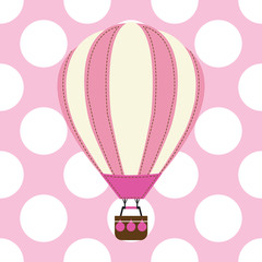 Baby shower card with cute hot air balloon on pink background suitable for baby shower postcard, nursery wall, and wallpaper