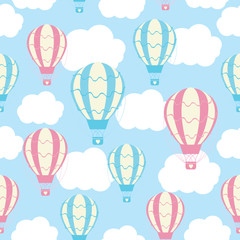 Baby Shower Seamless Pattern With Cute Hot Air Balloons On Blue Sky  Suitable For Baby Shower