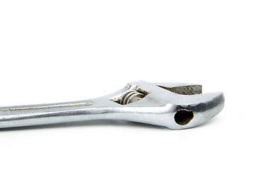 Metal adjustable wrench isolated on white background