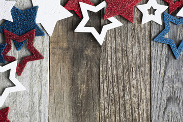Red White and Blue Star with Copy Space