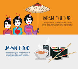 people japanese culture avatars vector illustration design