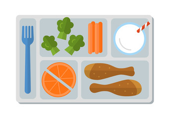 School lunch with chicken drumstick, vegetables, orange slices and a glass of milk. Flat style. Vector illustration.