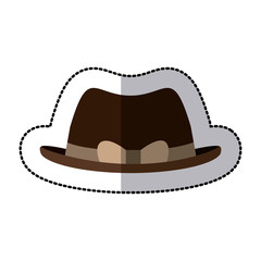 sticker lace brown hat with bow retro design vector illustration