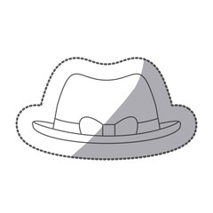 sticker silhouette lace brown hat with bow retro design vector illustration