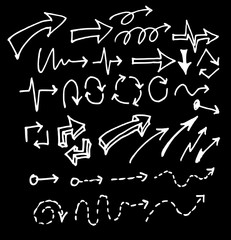 arrows doodle set on blackboard eps10