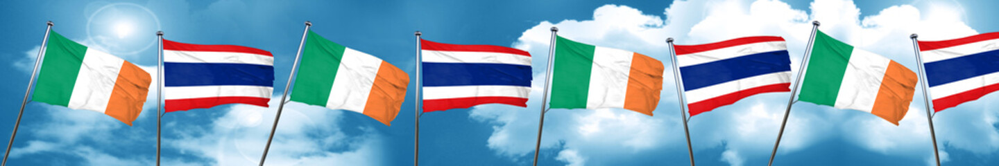 Ireland flag with Thailand flag, 3D rendering