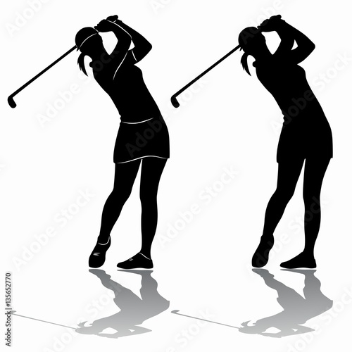 Silhouette Of A Woman Playing Golf Vector Draw Stock Image And