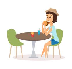 Women eating fast food
