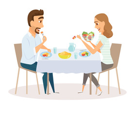 Loving couple eating