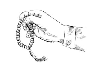 Hand holding a Muslim rosary. Sketchy style illustration.