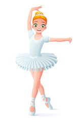 Vector cute smiling young dancing ballerina girl in white dress.