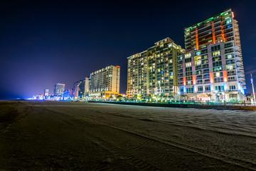 Buildings at Virginia Beach, Virginia during a Warm Fall Night