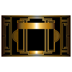 Two-color pattern with art deco frame vector illustration
