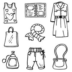 Women clothes and accessorien doodles