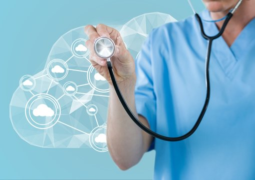 Doctor using stethoscope in front of cloud and white interface