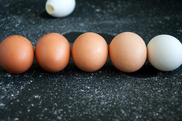Monochrome eggs over black background