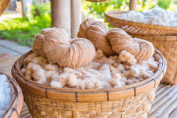 Handmade yarn from the cotton flower