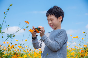 Young asian boy taking photo of flower by smart phone