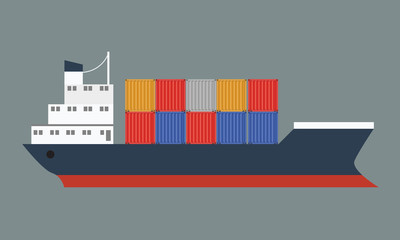 Beautiful container ship with international cargo. Vector illustrated icon with solid and flat color style design.
