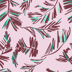 Seamless pattern of palms leaves