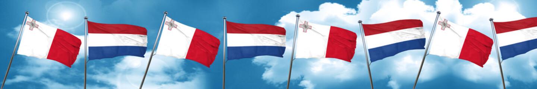 Malta flag with Netherlands flag, 3D rendering