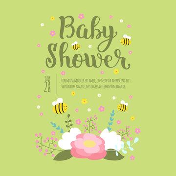Baby shower invitation vector card.