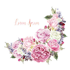 Beautiful watercolor card with roses, lavender flower and berrie