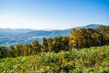 Skyline of The Blue Ridge Mountains in Virginia at Shenandoah Na