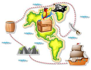 Treasure map and pirate ship