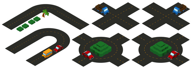 Isometric intersections on white background